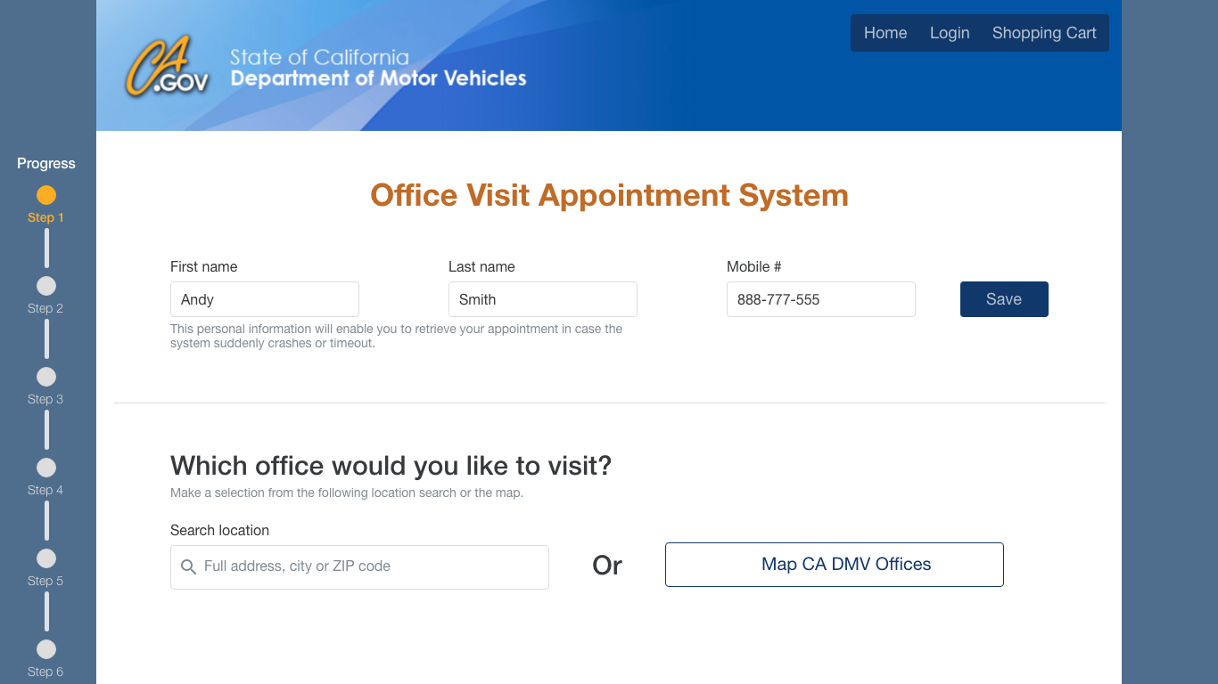 DMV Office Visit Appointment System